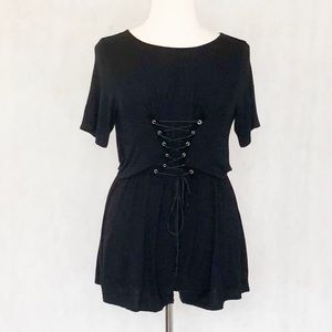 Boohoo Lace Up Bodice Romper Playsuit